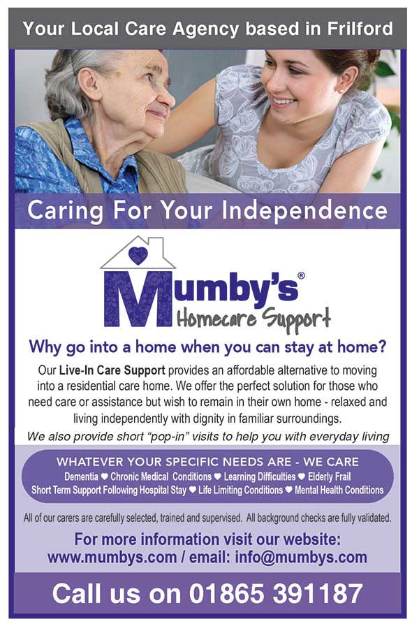 Mumby's Homecare Support call 0800 505 3511